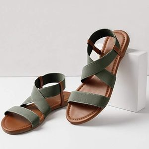 Shoes - Olive & Brown Elastic Strap Sandal